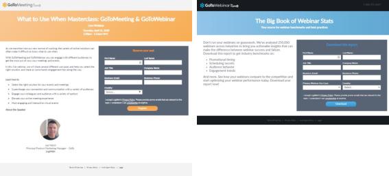 דף הרשמה לוובינר בצד דף הרשמה להורדת מדריך - שניהם של GoToWebinar
